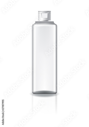 Fototapeta Blank clear square cosmetic bottle with white cap lid for beauty or healthy product. Isolated on white background with reflection shadow. Ready to use for package design. Vector illustration. obraz