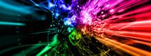 抽象的な光の矢と光のテキスト