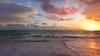 Ocean sea sunrise on caribbean island beach. Punta Cana, Dominican Republic