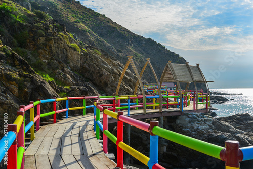 Poster Channel Colorful brigde for tourists on the sea