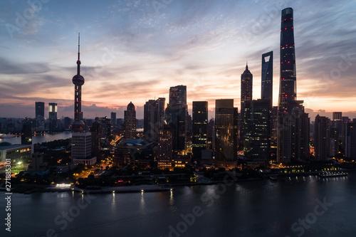 aerial view of Lujiazui, Shanghai, at dawn Canvas Print
