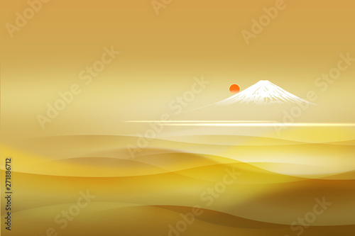 Valokuvatapetti 富士山と日の出(金色の透明感背景)