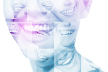 Laughing Women And Man With Great Teeth Over White Background. Healthy Beautiful Male And Female Smile. Teeth Health, Whitening, Prosthetics And Care. Set Of Perfect Smiles. Happy People, Detail