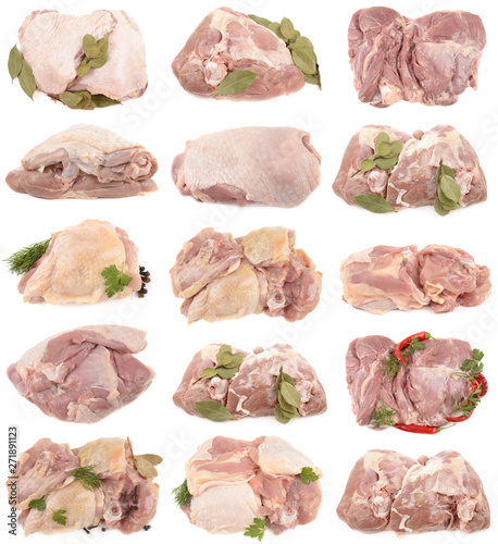 turkey meat on a white background - 271891123
