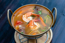 Tom Yam Kung Or Tom Yum, Tom Yam Is A Spicy Clear Soup Typical In Thailand. Popular Food In Thailand
