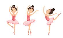 Ballerinas Are Dancing Set. Cute Girls Kids Dancers In Pink Tutu Dress And Pointe Dance. Children's Ballet School Concept. Vector Illustration In Cartoon Flat Style.