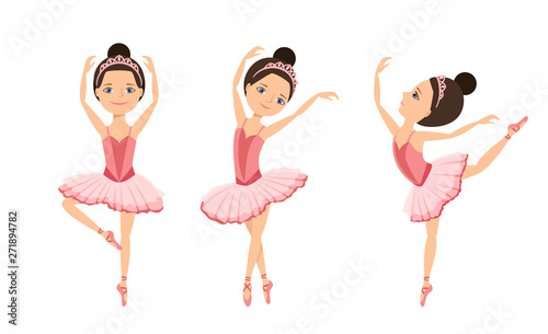 Ballerinas Are Dancing Set Cute Girls Kids Dancers In Pink Tutu Dress And Pointe Dance Children S Ballet School Concept Vector Illustration In Cartoon Flat Style Buy This Stock Vector And Explore