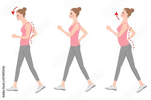 Obraz 正しい歩き方、姿勢 - fototapety do salonu