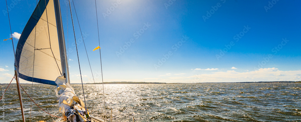 Fototapety, obrazy: Yachting on sail boat during sunny weather