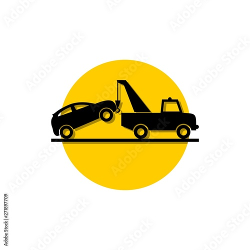 Car tow service, 24 hours, truck icon Canvas Print