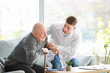 canvas print picture - Doctor with senior man in nursing home