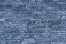 Abstract Texture Of Dark Blue Or Purple Real Brick Wall Tinted. Photography Dark Background For Design And Text