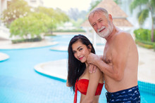 Asian Sexy Wife Girl With Elder Man Husband Holiday At Swimming Pool