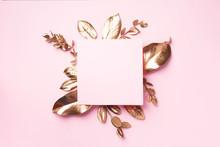 Golden Leaves On Pink Backgrou...