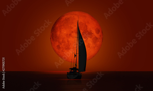 Garden Poster Brown Big bloody (red) full moon with lone yacht - Lunar eclipse