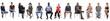 Leinwandbild Motiv group of mixed people sitting on white