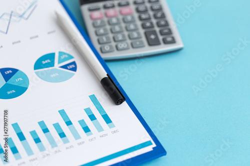 Photo sur Toile Les Textures FINANCIAL REPORT AND CALCULATOR CONCEPT