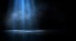 canvas print picture Dark empty scene, blue neon searchlight light, wet asphalt, smoke, night view, rays. Empty black studio room. Dark background. Abstract dark empty studio room texture.  Product showcase spotlight back