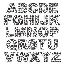 Cute Modern Trendy Leopard Alphabet Set Vector Illustration