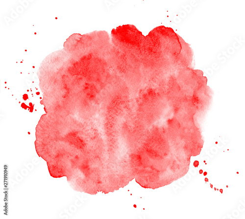 Scarlet, blood red watercolor round background, frame. Uneven circle shape with watercolour stains, splashes, blobs. Painted template for lettering. Hand drawn abstract aquarelle fill, texture