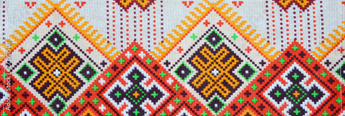 Fotografie, Tablou  Traditional Ukrainian folk art knitted embroidery pattern on textile fabric