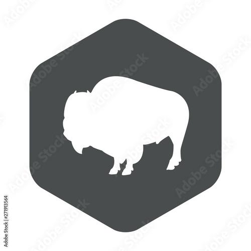 Obraz Icono plano silueta bisonte en hexágono color gris - fototapety do salonu