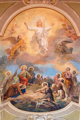 BELAGGIO, ITALY - MAY 10, 2015: The fresco of Ascension of the Lord in church Santa Maria Annunciata (Visgnola) by Luigi Morgari from 20 Wallpaper Mural