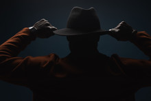 Portrait Of Incognito Man In Hat And Coat. Anonim, Performer