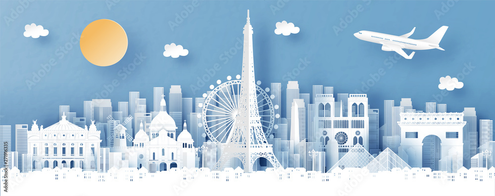 Fototapety, obrazy: Panorama view of Paris, France and city skyline with world famous landmarks in paper cut style vector illustration