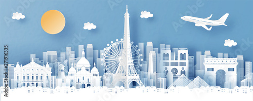 Panorama view of Paris, France and city skyline with world famous landmarks in paper cut style vector illustration #271916335