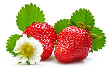 Strawberries With Green Leaf A...