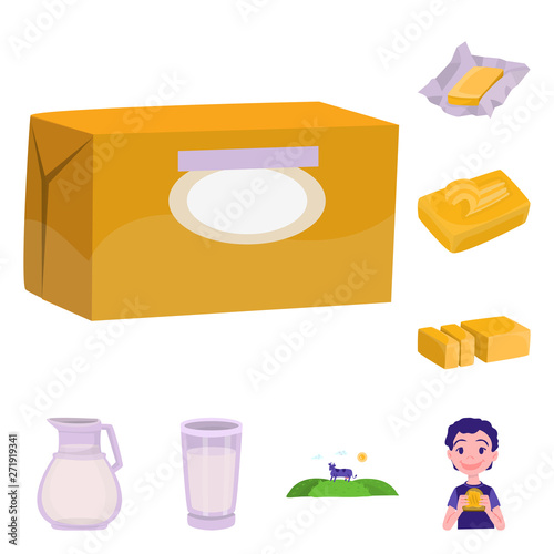 Isolated object of food and dairy icon  Collection of food