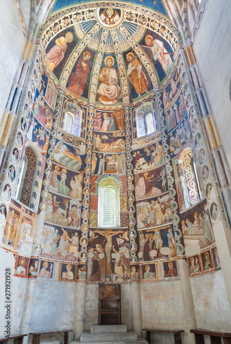 COMO, ITALY - MAY 9, 2015: The old fresco in presbytry of church Basilica di San Abbondio by unknown artist