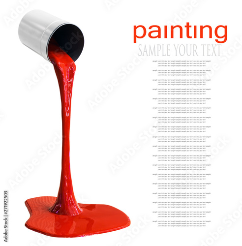 Fotografering  paint for coloring is poured from can isolated on a white background