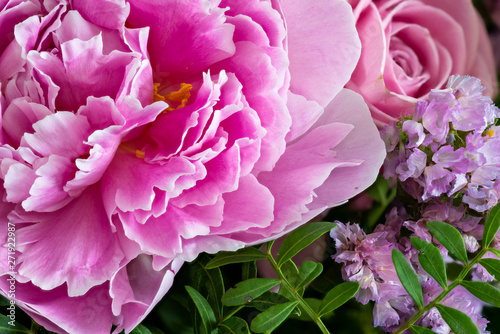 Fotografie, Obraz  pink peony in a colorful spring flower bouquet with rose,sea-lavender and blurry