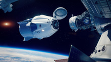 Space X Docking To The Internation Space Station. Elements Of This Image Furnished By NASA.