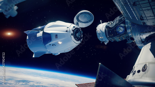Fotografie, Tablou Space x docking to the Internation Space Station