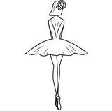 Fototapeta Dinusie - Ballerina silhouette with flowers hairpin. Illustration on white background