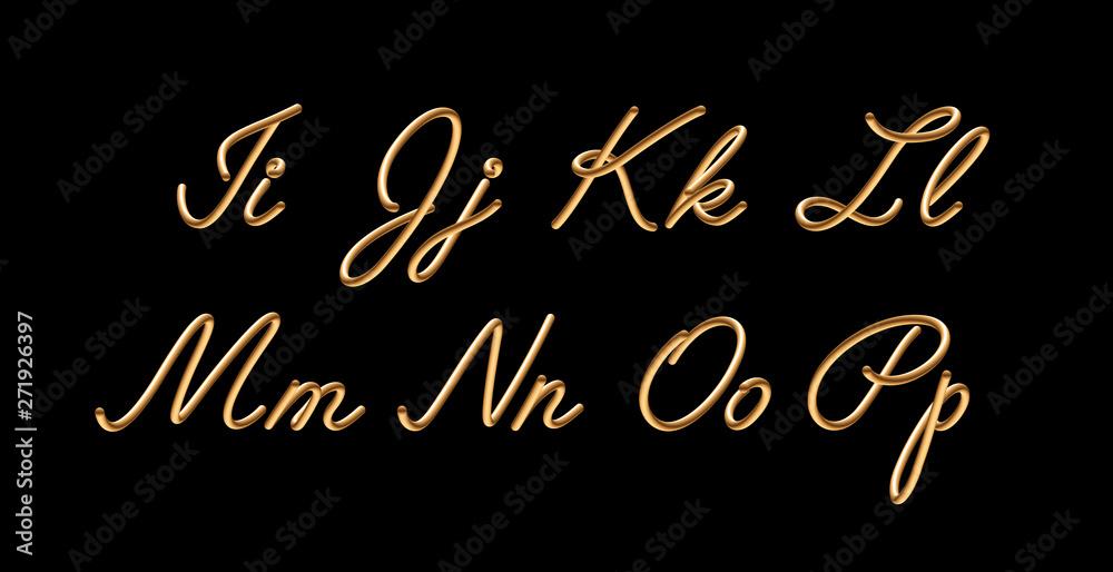 Fototapeta 3D gradient golden blend vector alphabet design