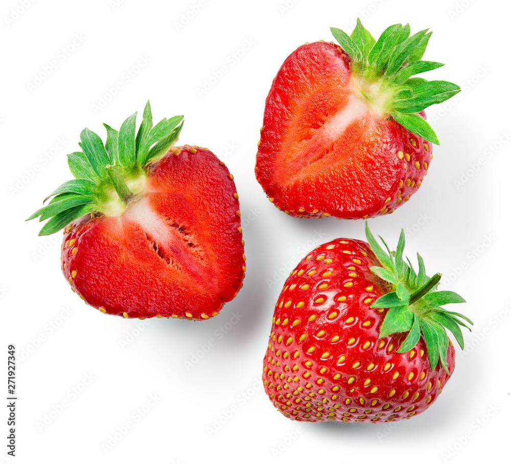 Fototapety, obrazy: Strawberries isolate. Strawberry whole, half, slice. Cut strawberry on white background.