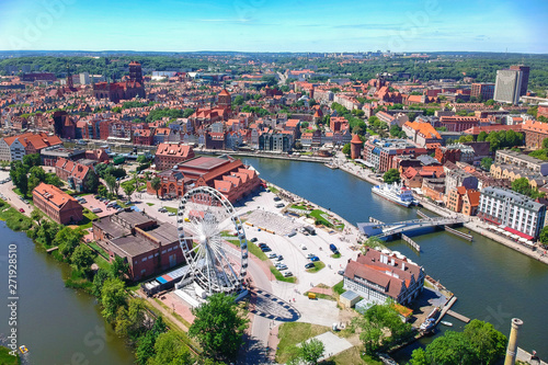 fototapeta na lodówkę Aerial view of Gdansk old town in summer scenery, Poland