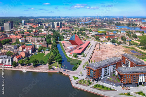 Aerial view of Gdansk old town in summer scenery, Poland