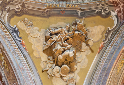 COMO, ITALY - MAY 8, 2015: The stucco of prophet Daniel in in cupola of church Santuario del Santissimo Crocifisso by Gersam Turri (1927-1929).