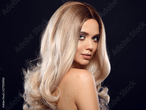 Fotografie, Obraz  Ombre blond curly hair