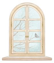 Classic Wooden Arch Window Wit...