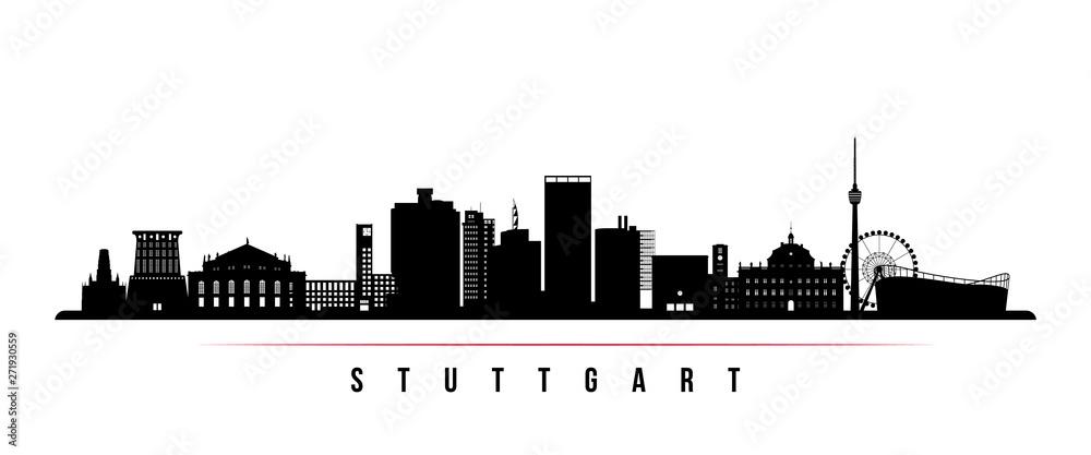 Fototapety, obrazy: Stuttgart city skyline horizontal banner. Black and white silhouette of Stuttgart city, Germany. Vector template for your design.