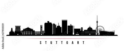 Stuttgart city skyline horizontal banner. Black and white silhouette of Stuttgart city, Germany. Vector template for your design.