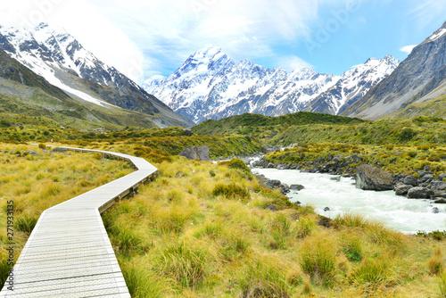 Montage in der Fensternische Honig view of Aoraki Mount Cook National Park in New Zealand