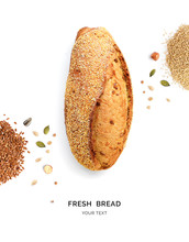 Creative Layout Made Of Bread And Nuts. Flat Lay. Food Concept. Macro  Concept. Bread, Quinoa And Flax Seeds On White Background.