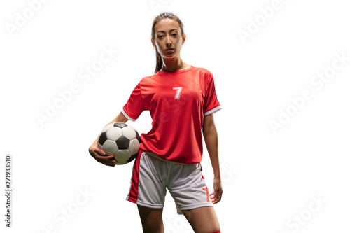 Isolated Female Soccer player play on white background. Girl with soccer ball